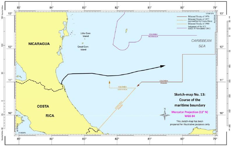 Maritime Boundary | Sketch-map No. 13 | Nicaragua / Costa Rica